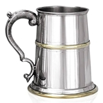 Georgian Handle With Brass Band and Base One Pint Pewter Tankard