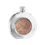 Celtic Rose Pewter Round Flask 6 Ounces CEL974