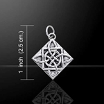 Celtic Knotwork Four Point Quaternary Knot Silver Charm 52-TCM100