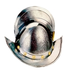 Spanish Round Morion Helmet - Engraved - Gold Inlaid