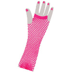 80's Neon Pink Long Fishnet Adult Gloves 100-179648