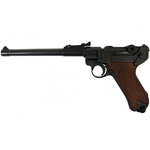 P08 German Luger Lange Pistole Artillery Model Wood Grips - Non-Firing Replica