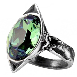 Absinthe Fairy Spirit Crystal Ring Pewter Alchemy R120