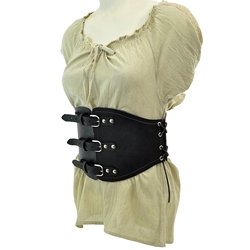 Buckled Waist Cincher - Black Leather