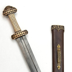 Bronze Hilt Viking Sword with Damascus Blade,Bronze Hilt Viking Sword - Scabbard